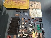 Vintage 1950and039s Marx Western Ranch Play Set With Box