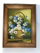 Daisies In Basket Acrylic Painting Blue White Gold Wood Frame By Weber