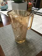 """Vintage Orange Carnival Glass 9"""" Pitcher With White Flowers"""