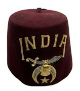 Vintage Shriner Fez India Chapter Hat With Egyptian King Tut Head Pin Size 7