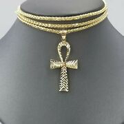 10k Ankh Cross Yellow Gold Charm Pendant Palm Chain 20 22 24 26 28 30 Real