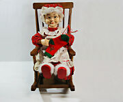 Large 18 Electric Animated Mrs. Claus Knitting On Rocking Chair Christmas Santa