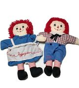 Antique Vintage 16 Raggedy Ann And Andy Cloth Rag Doll Lot Of 2 Good Condition
