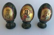 3 Russian Lacquer Wooden Eggs Hand Painted Easter Madonna Icon Signed Vintage2