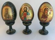 3 Russian Lacquer Wooden Eggs Hand Painted Easter Madonna Icon Signed Vintage 3