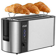 Ikich Toaster 4 Slice Toaster 2 Long Slot Stainless Steel Warming Rack 1300w