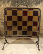 Antique Arts Crafts Copper And Stained Glass Fireplace Fire Screen