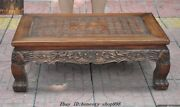 """27chinese Huanghuali Wood Carved Calligraphy Text""""福""""ancient Book Desk Tea Table"""