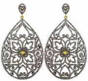 14k Gold Diamond Pave Filigree Earrings Sterling Silver Vintage Style Jewelry Py