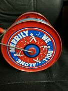 Antique Toy - Merrily We Roll Along Musical Push Toy - Rare 1930-40s Vg