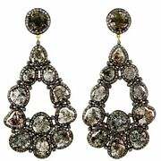 925 Sterling Silver Natural Diamond Pave Dangle Earrings 18k Yellow Gold Jewelry