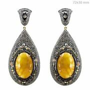 6ct Real Diamond Pave Sterling Silver Sapphire Dangle Earrings 14 K Gold Jewelry