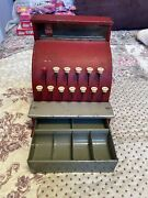 Vintage 1950s Red Tin Metal Child's Toy/play Cash Register
