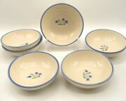 Harstone Pottery Usa Blueberry Soup Cereal Bowls Date Mark 1987 - 6 Pc