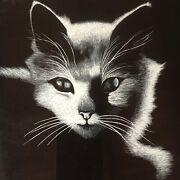 Rudy Droguette Isis Print White Cat Scratchboard Print Black Frame Vintage Glam