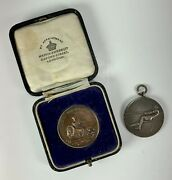 Lot Of Two British Royal Air Force Tug Of War Sports Medals 1930and039s Silver Bronze