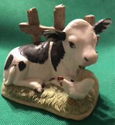 ✨vintage✨homco Farm Pasture Fence Cow And Chicken 1469 Figurine
