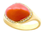 Vintage 3.67ct Pink Coral And 0.26ct Diamond 18ct Yellow Gold Dress Ring