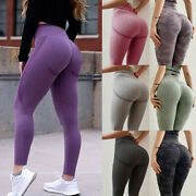 Womens Scrunch High Waist Yoga Pants Sports Gym Leggings Push Up Ruched Workout