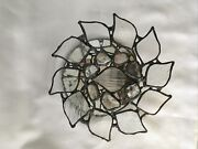 Vintage 8andrdquo Round Handcrafted Leaded Stained Glass Wall- Candle Holder Mirror