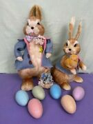 Easter Bunny Couple W/sparkly Glitter Easter Deco Eggs