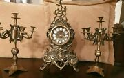 Antique Work Heavy Brass French Clock And Pair Candle Holder