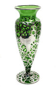 American Green Glass Silver Overlay Footed 12 Inch Vase, Circa 1900