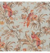 4 Drapes Authentic Imported French Linen Birds Of Prey Toile In Tangelo On Gray