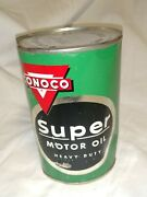 Vintage Conoco Brand One Quart Metal Oil Can Full