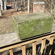 Antique Primitive Slide Top Green Painted Wooden Dovetailed Candle Box