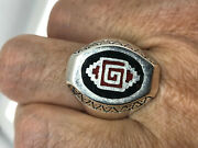 Vintage Southwestern Coral Mens Ring Inlay Silver White Bronze Size 14
