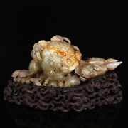 9.9 100 Natural China Old Hetian Jade Handcarved Exquisite Lotus Fish Statues