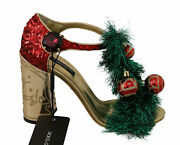Dolce And Gabbana Sandals Womenand039s Gold Leather Crystal Christmas Eu40.5/us10.5