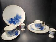 Okura Toen Blue Rose Porcelain Luncheon Plates Cups And Saucers Egg Cups 8 Piece