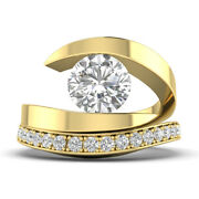 1.52ct D-si1 Diamond Round Engagement Ring 18k Yellow Gold Any Size
