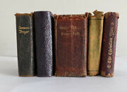 Collection Of Antique Miniature Bibles, Common Prayer Books. Leather And Sheepskin