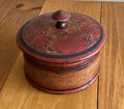 Unique Round Resin Lidded Box With Ornate Etchings