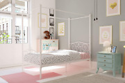 D Canopy Bed With Sturdy Bed Frame, Metal, Twin Size - White