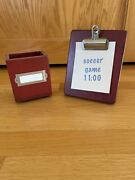 Pottery Barn Kids Red Desk Wooden Pencil Pen Cup And Small Note Clipboard