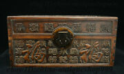 Antique Chinese Huali Wood Carved Blessing Storage Jewelry Chest Bin Box Statue