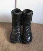 Ugg 3161 Women's Black Sparkle Sequin Classic Short Shearling Boots Size Usa 7