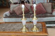 Brass And Heavy Lead Crystal Automax Vintage Matching Set Of 2 Table Lamps