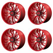 4x Xd Series 22x12 Xd858 Tension Wheels Candy Red Milled 6x135 -44mm 4.77bs