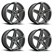 4 American Racing 22x10.5 Ar936 Hellion Wheels Gloss Black Gray 5x115 +25mm