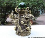 China Collect Brass Copper Feng Shui Ball Five Wealth Dragons Play Bead Statue