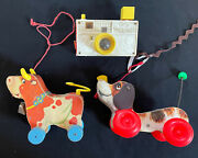 Vintage Org 1960and039s Fisher-price Wooden Animals Pull Toy Bossy Bell Cow N More