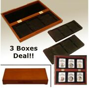 3/6 Coin Slab Display Oak Wood Storage Gift Box Certified Ngc Pcgs Anacs 3 Boxes