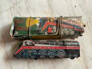 Old Vintage Tin Battery Operated Silver Streak Train Toy With Box From Japan .
