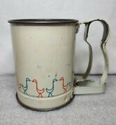 Vintage Metal Squeeze Operated Hand Flour Sifter Goose Duck Print By Androck Usa