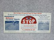 1920and039s Ericksons Reflective Pavement Signals Street Signs Maker Blotter Unused